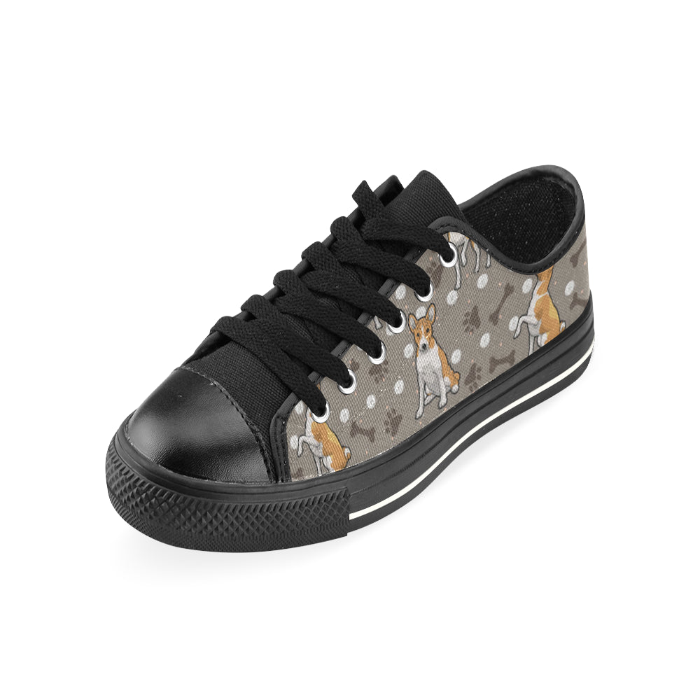 Basenji Black Canvas Women's Shoes/Large Size - TeeAmazing