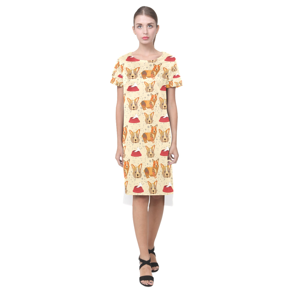 Corgi Pattern Short Sleeves Casual Dress - TeeAmazing