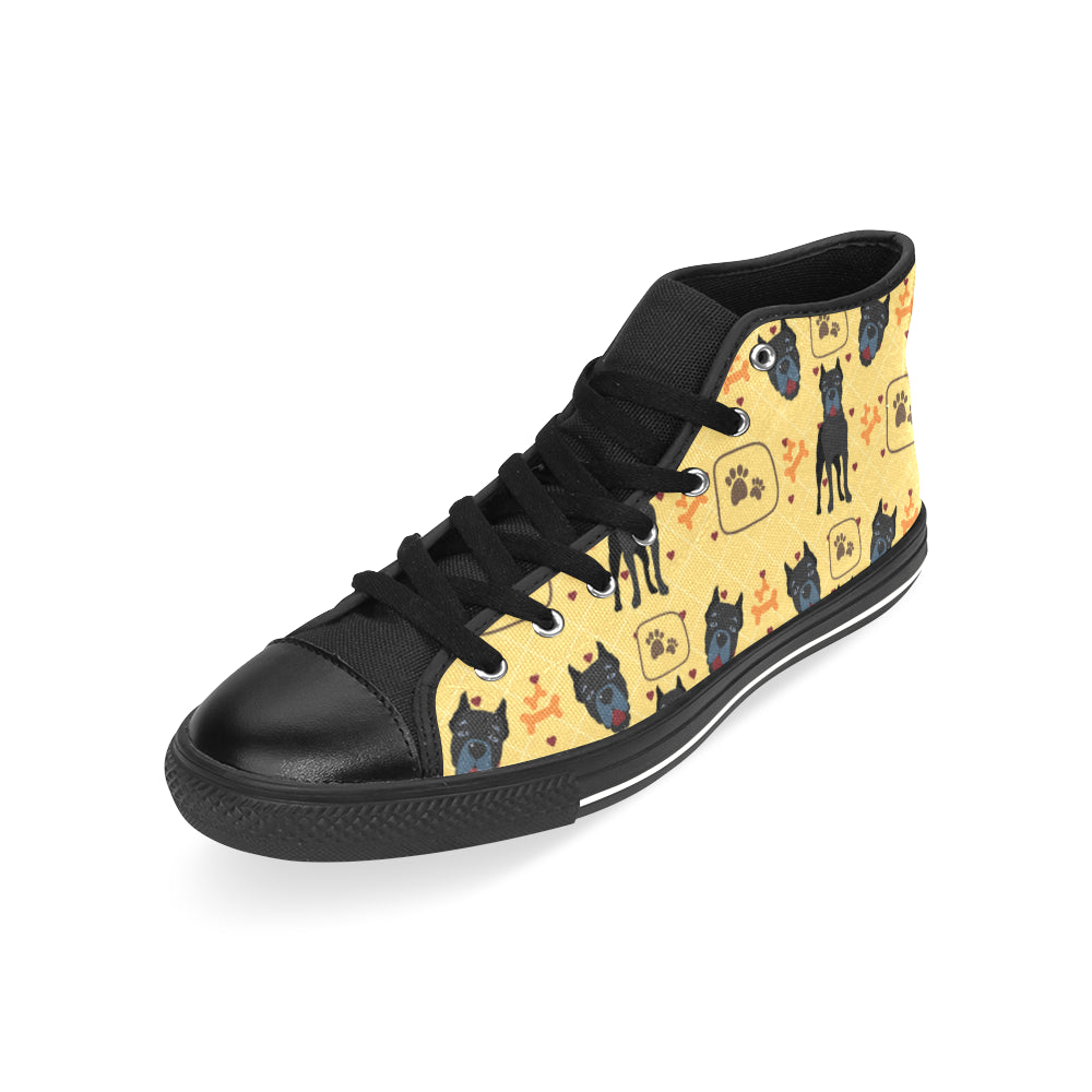 Cane Corso Pattern Black Men's Classic High Top Canvas Shoes /Large Size - TeeAmazing