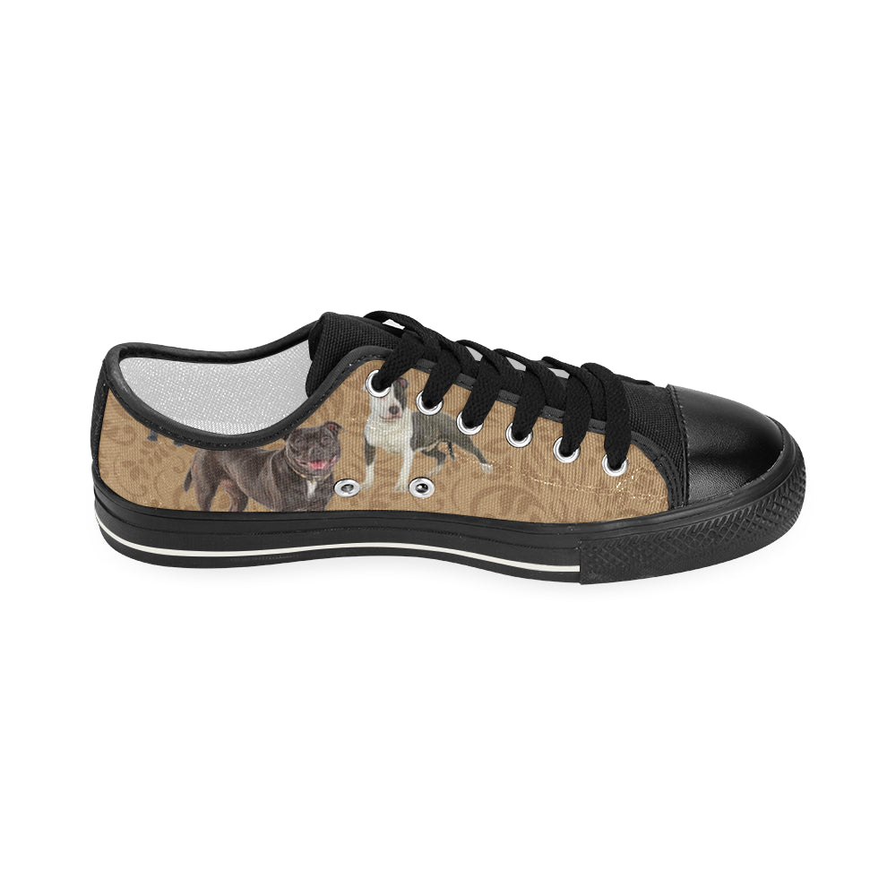 Staffordshire Bull Terrier Lover Black Women's Classic Canvas Shoes - TeeAmazing