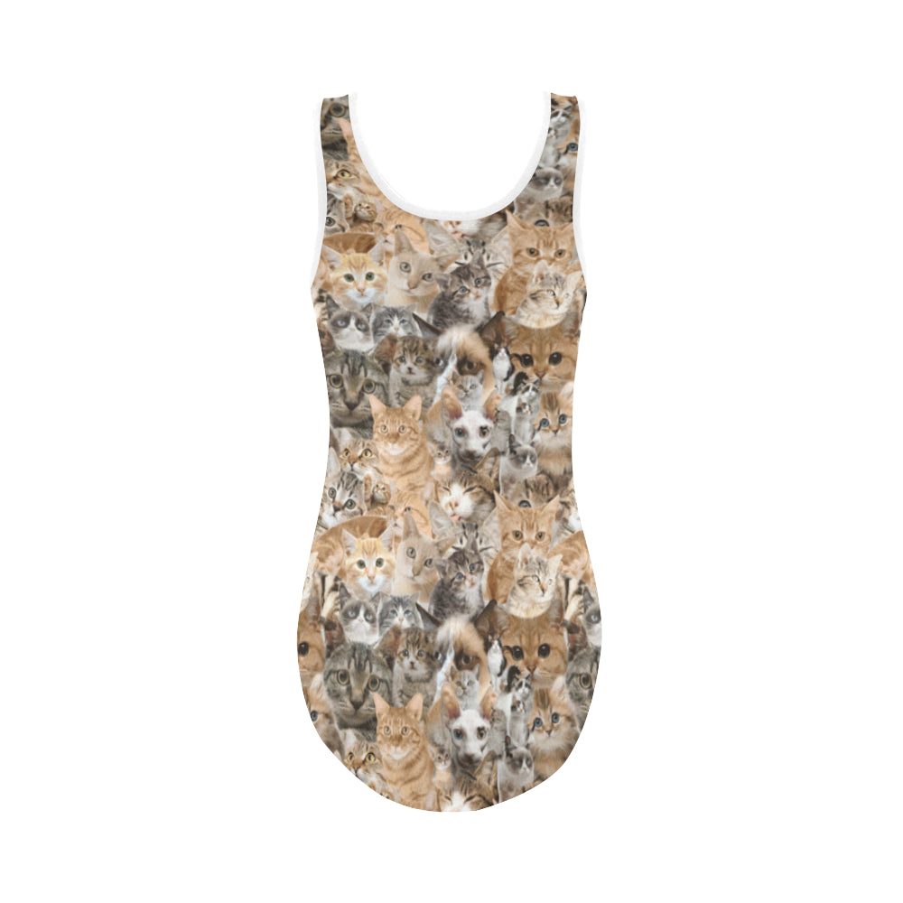 Cat Vest One Piece Swimsuit - TeeAmazing