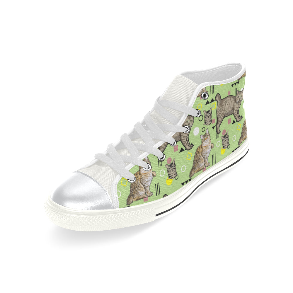 American Bobtail White High Top Canvas Women's Shoes/Large Size - TeeAmazing