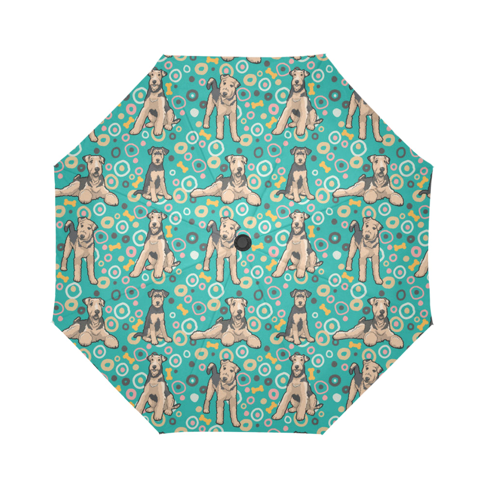 Airedale Terrier Pattern Auto-Foldable Umbrella - TeeAmazing