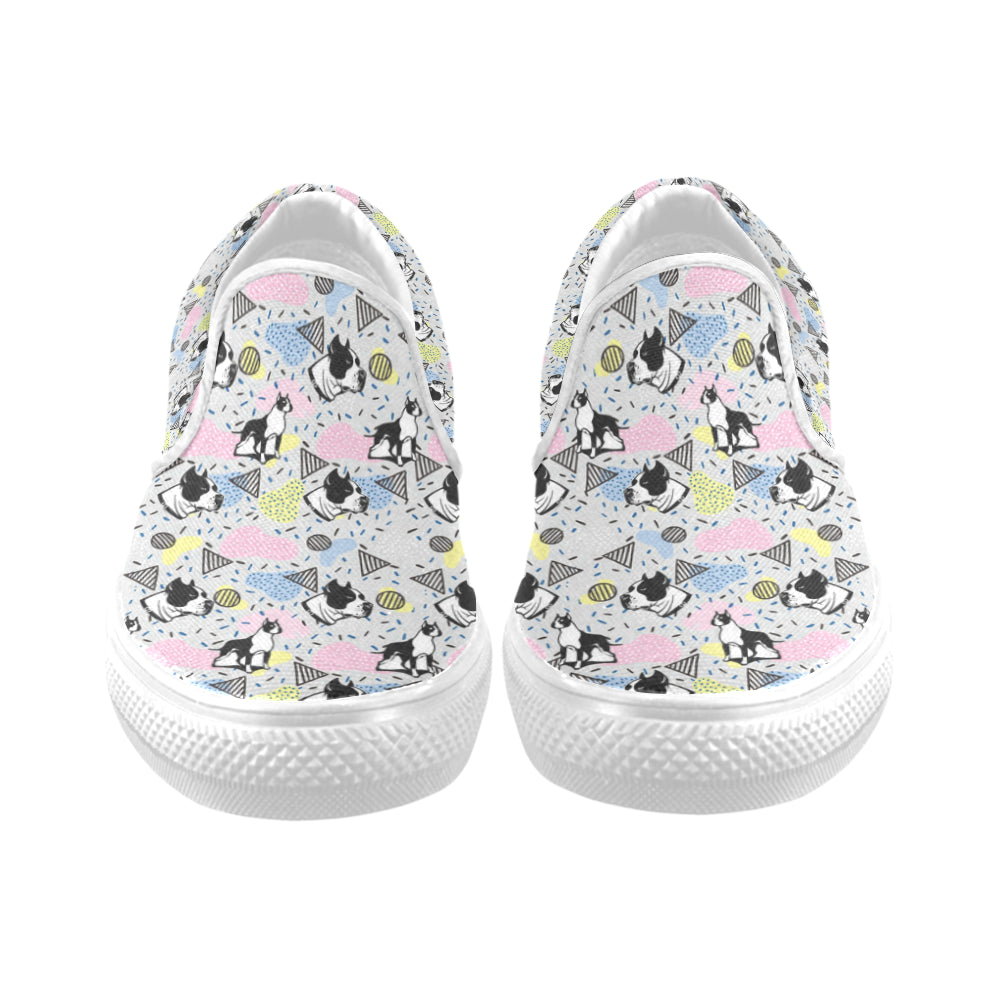 American Staffordshire Terrier Pattern White Women's Slip-on Canvas Shoes - TeeAmazing