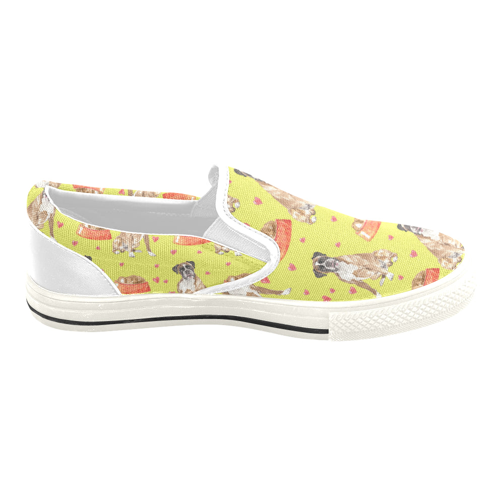 Boxer Water Colour Pattern No.2 White Women's Slip-on Canvas Shoes/Large Size (Model 019) - TeeAmazing