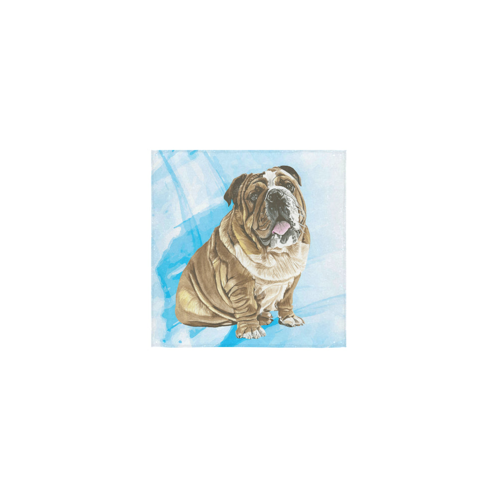 English Bulldog Water Colour No.1 Square Towel 13x13 - TeeAmazing