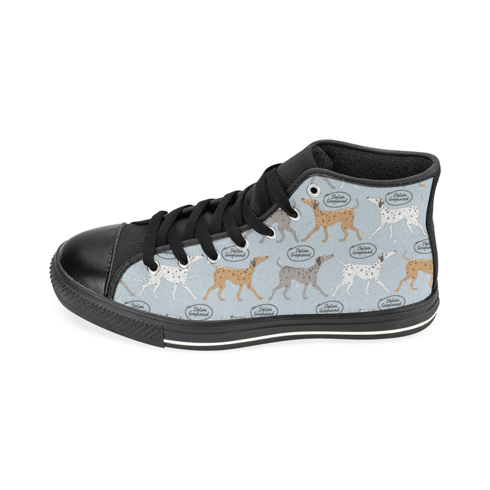 Italian Greyhound Pattern Black High Top Canvas Women's Shoes (Large Size) - TeeAmazing