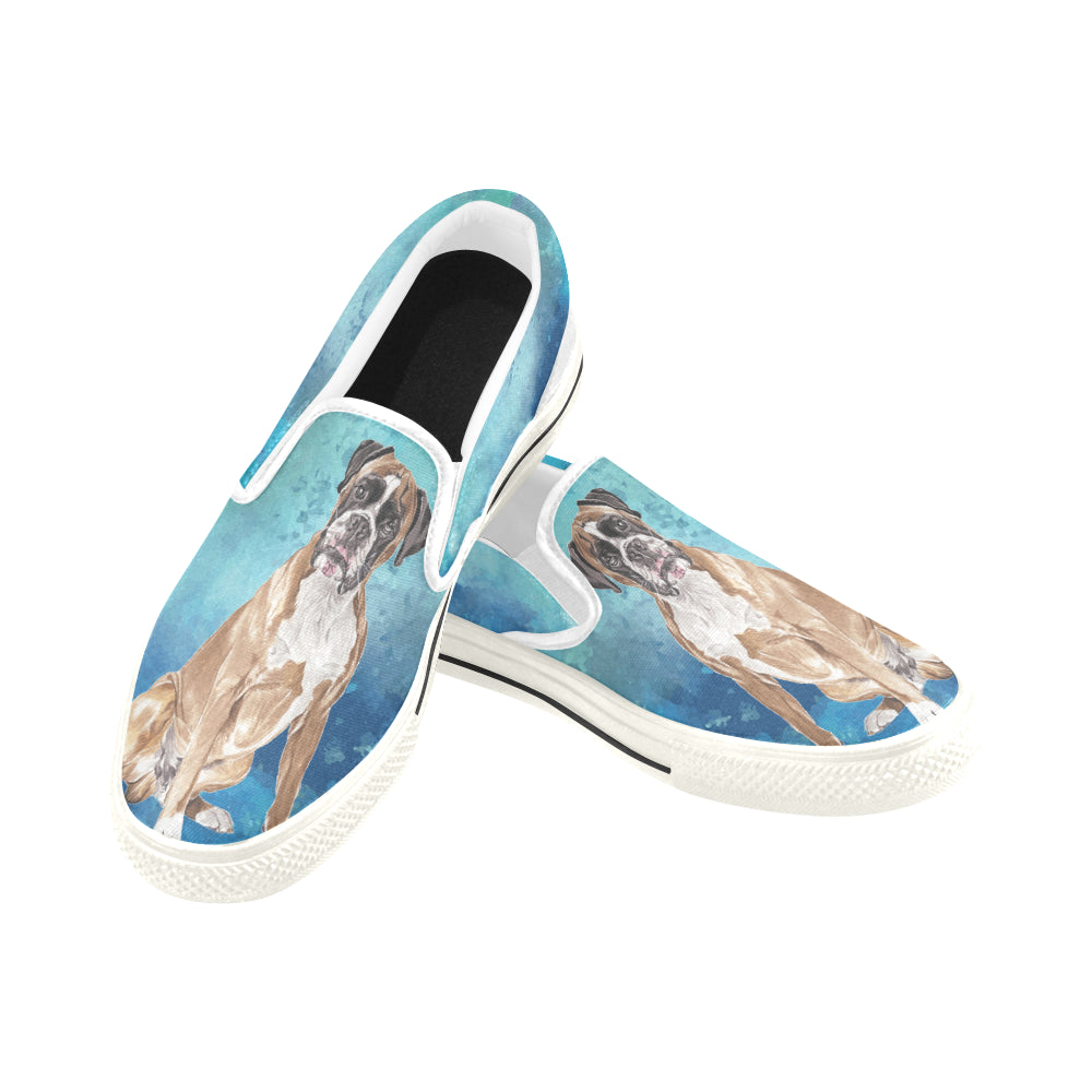 Boxer Water Colour White Women's Slip-on Canvas Shoes/Large Size (Model 019) - TeeAmazing