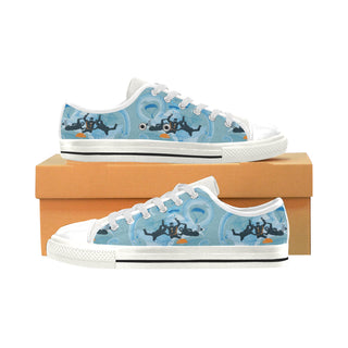 Sky Diving White Low Top Canvas Shoes for Kid - TeeAmazing