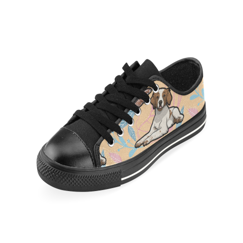 Brittany Spaniel Flower Black Canvas Women's Shoes/Large Size - TeeAmazing