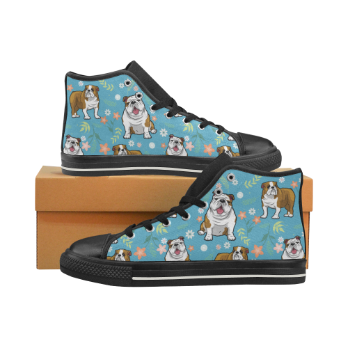 English Bulldog Flower Black Men's Classic High Top Canvas Shoes (Model 017) - TeeAmazing