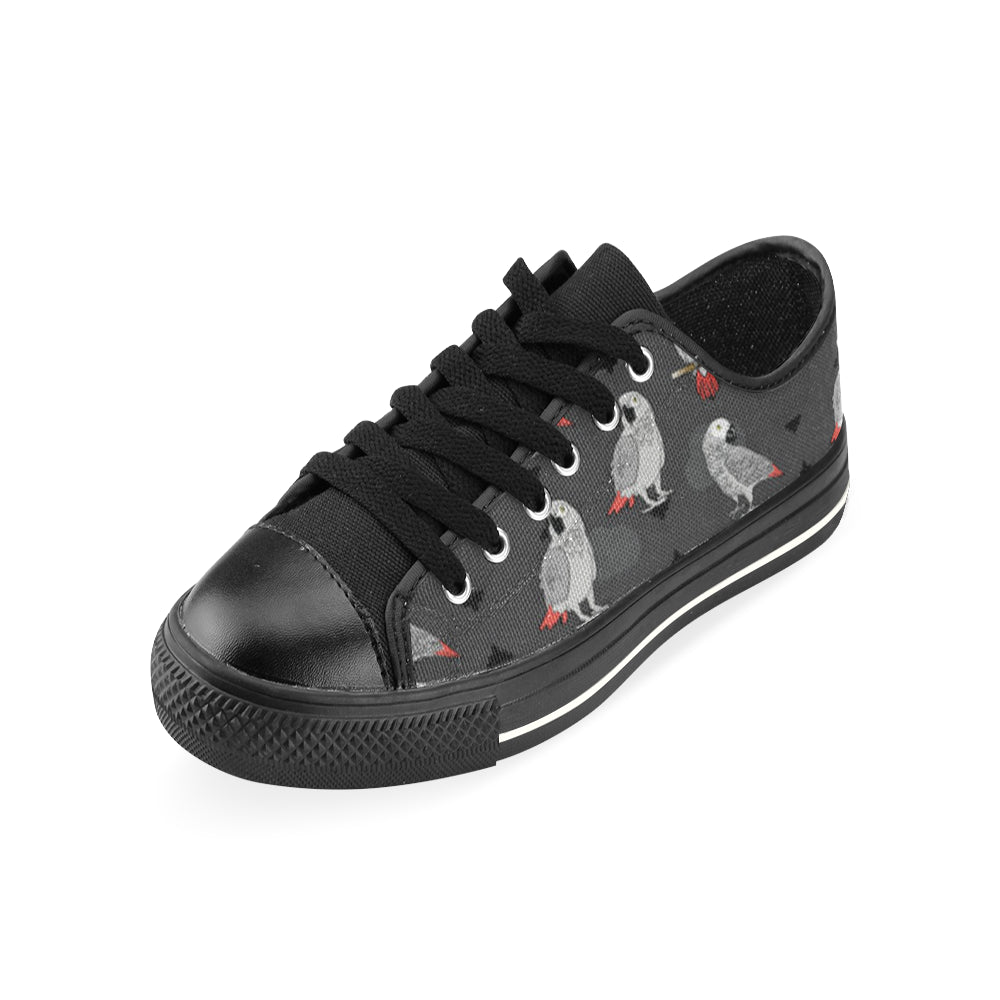 African Greys Black Low Top Canvas Shoes for Kid - TeeAmazing