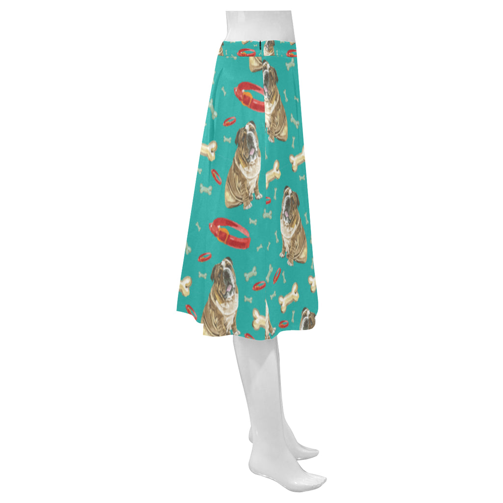 English Bulldog Water Colour Pattern No.1 Mnemosyne Women's Crepe Skirt (Model D16) - TeeAmazing