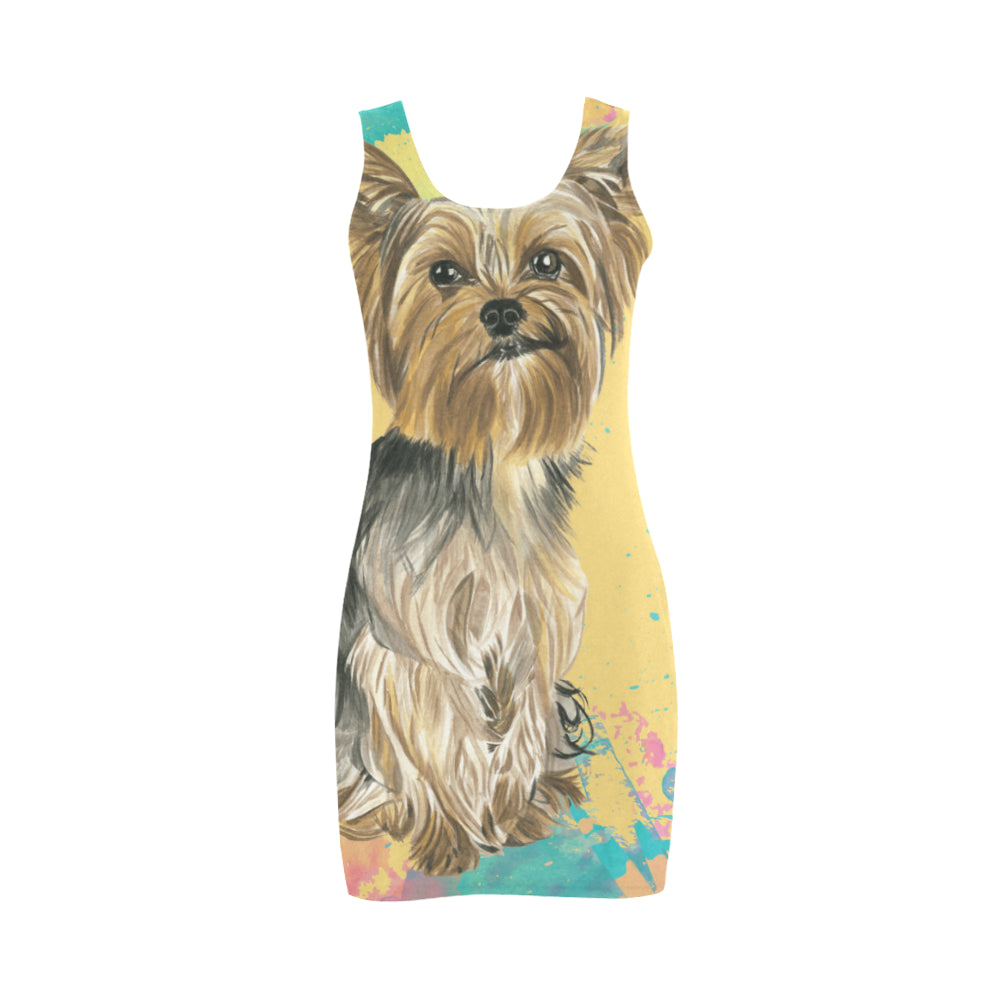 Yorkshire Terrier Water Colour No.1 Medea Vest Dress - TeeAmazing