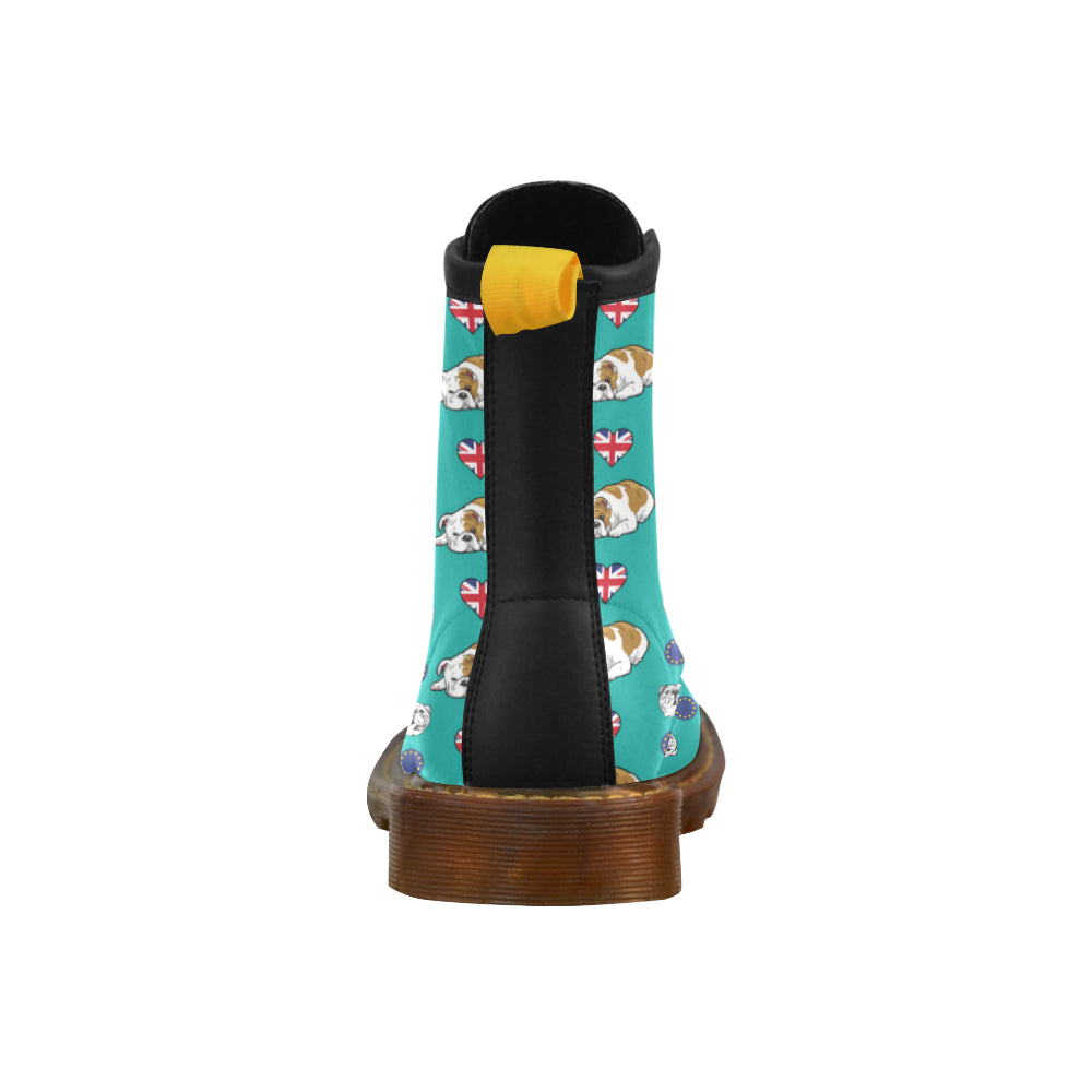 English Bulldog Black Leather Boots For Men - TeeAmazing