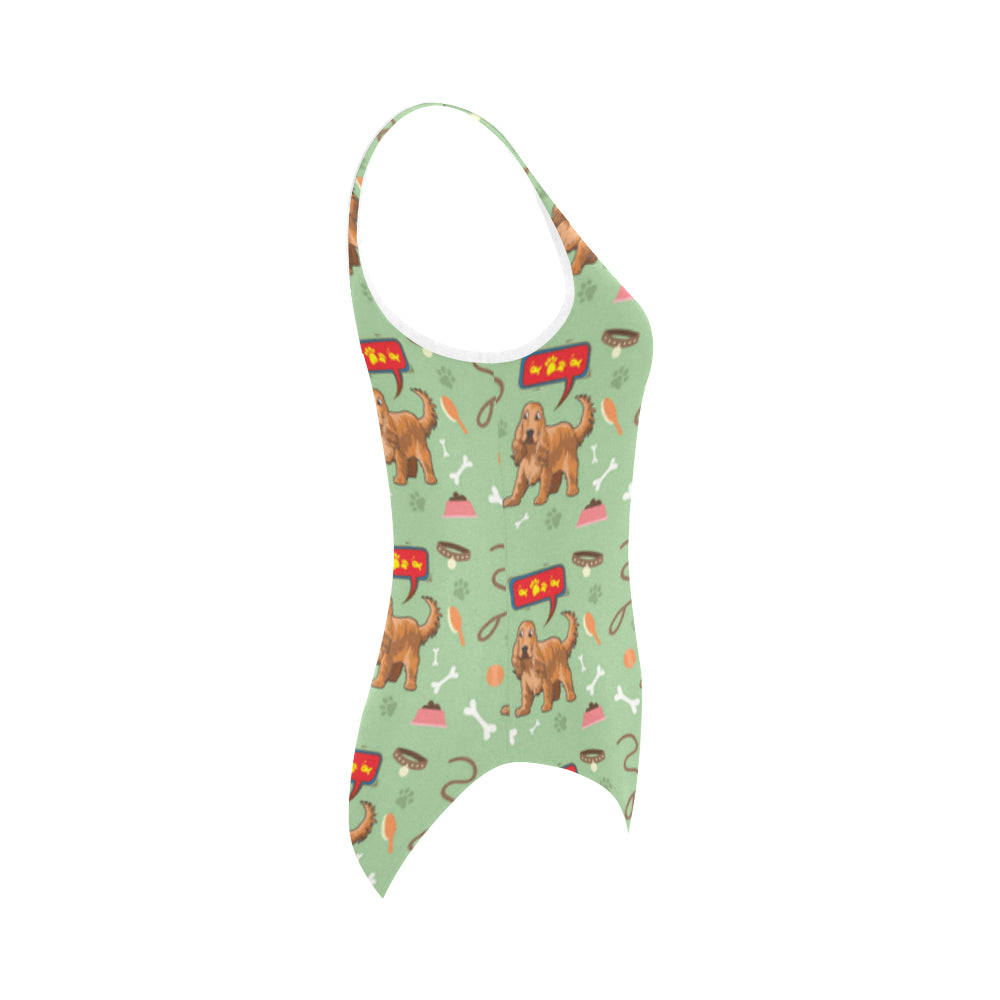 American Cocker Spaniel Pattern Vest One Piece Swimsuit - TeeAmazing