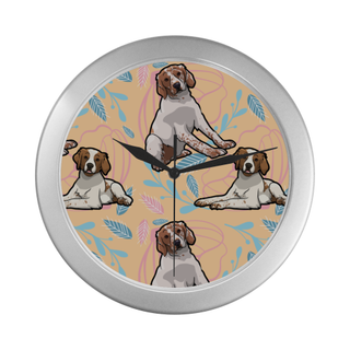 Brittany Spaniel Flower Silver Color Wall Clock - TeeAmazing