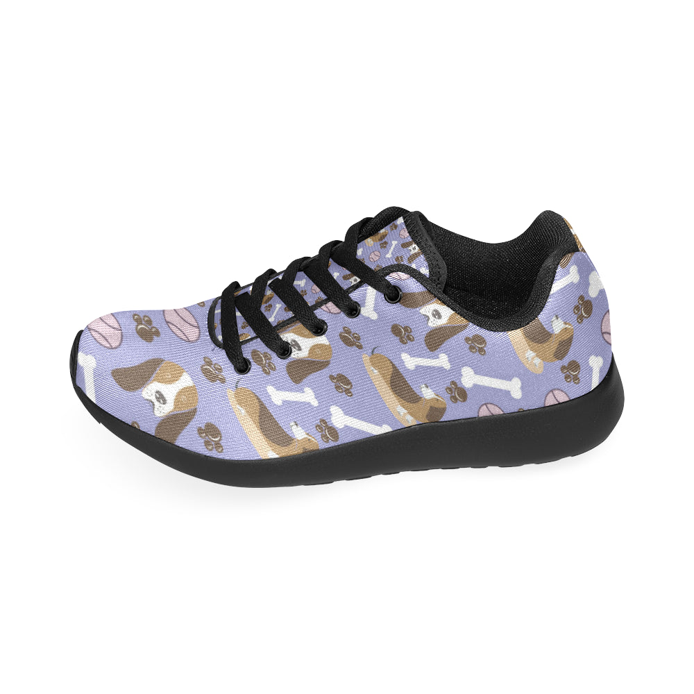 Basset Hound Pattern Black Sneakers Size 13-15 for Men - TeeAmazing