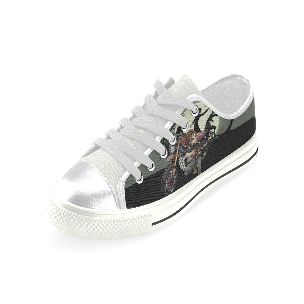 Daryl Dixon White Canvas Women's Shoes (Large Size) - TeeAmazing