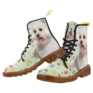 Maltipoo Black Martin Boots For Men - TeeAmazing
