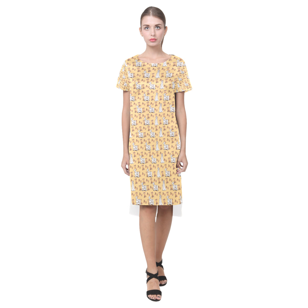Afghan Hound Pattern Short Sleeves Casual Dress - TeeAmazing