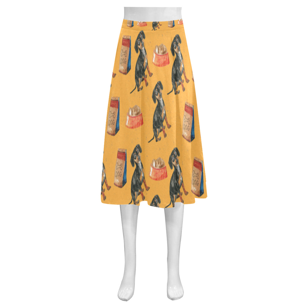 Dachshund Water Colour Pattern No.1 Mnemosyne Women's Crepe Skirt (Model D16) - TeeAmazing