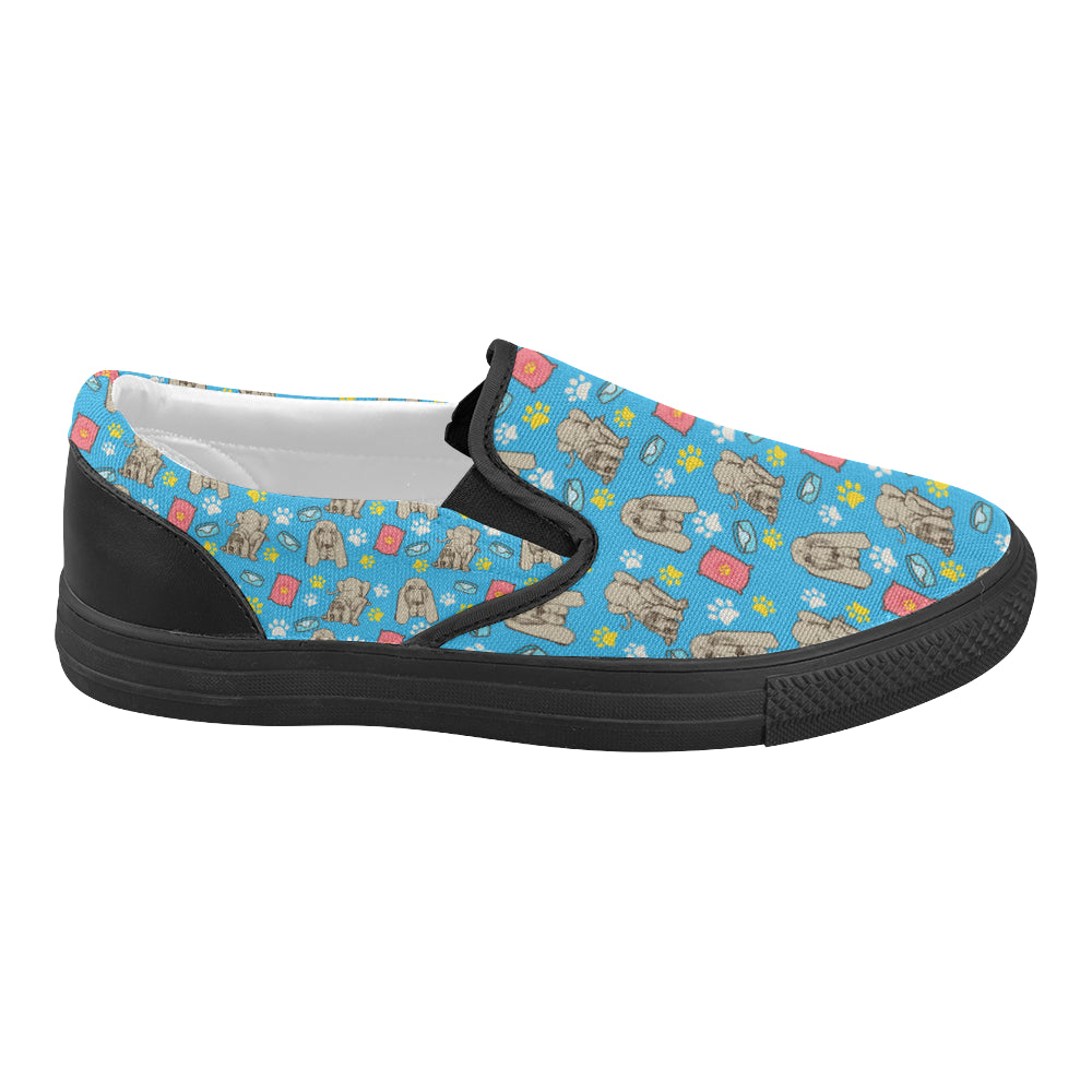 Bloodhound Pattern Black Women's Slip-on Canvas Shoes (Model 019) - TeeAmazing
