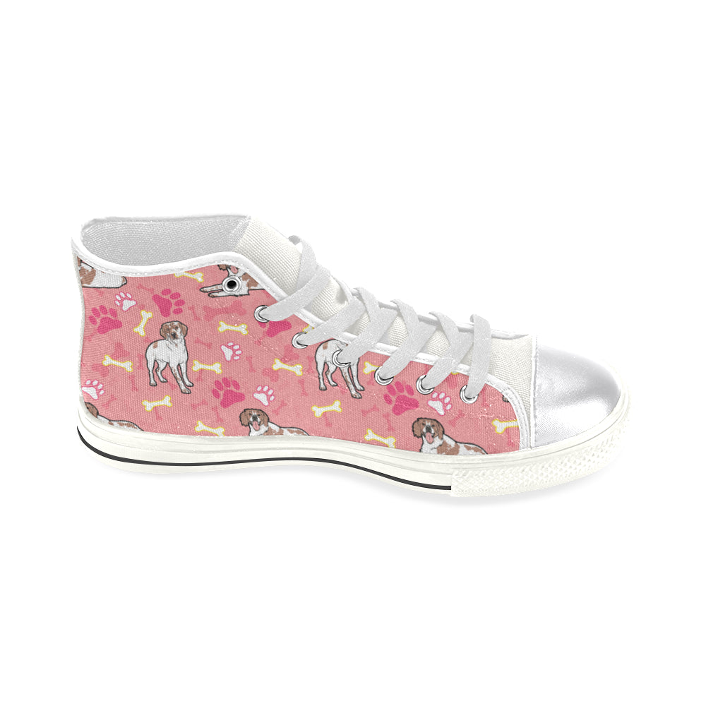 Brittany Spaniel Pattern White Women's Classic High Top Canvas Shoes - TeeAmazing