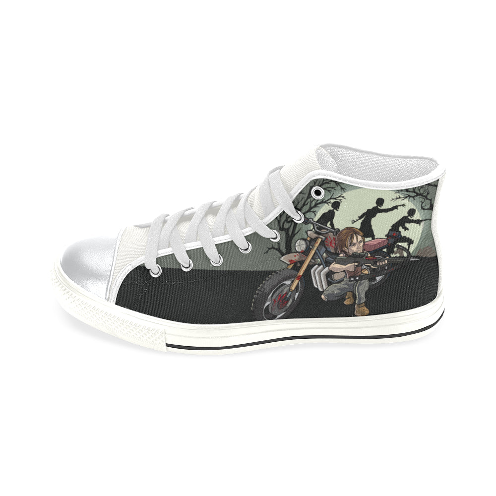 Daryl Dixon White High Top Canvas Women's Shoes (Large Size) - TeeAmazing