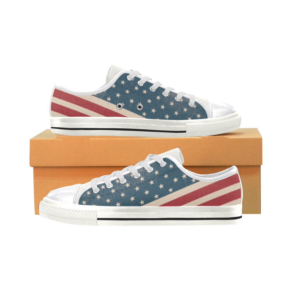 4th July V2 White Canvas Women's Shoes/Large Size - TeeAmazing