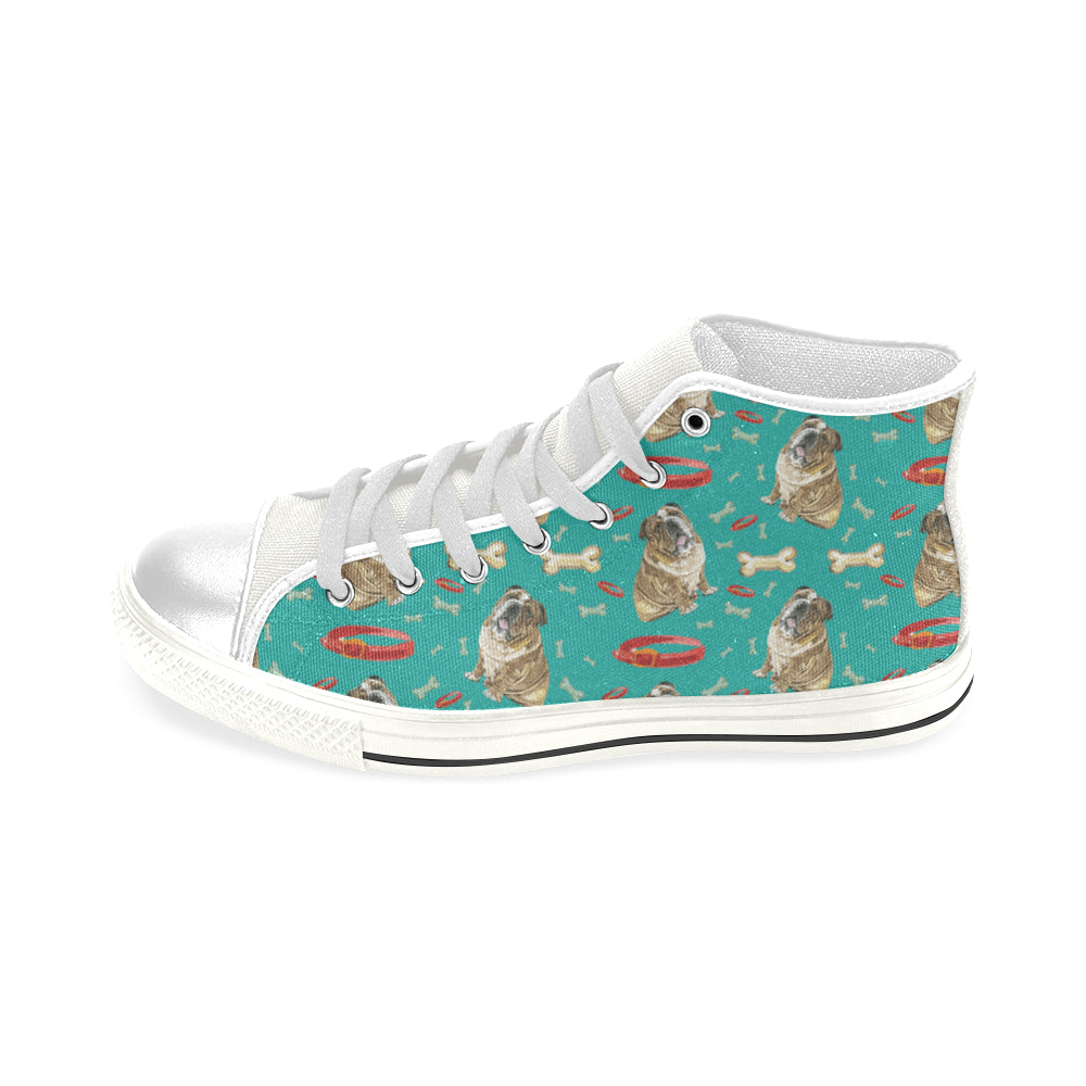 English Bulldog Water Colour Pattern No.1 White Men's Classic High Top Canvas Shoes - TeeAmazing
