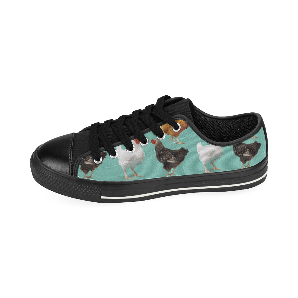 Chicken Pattern Black Canvas Women's Shoes/Large Size - TeeAmazing