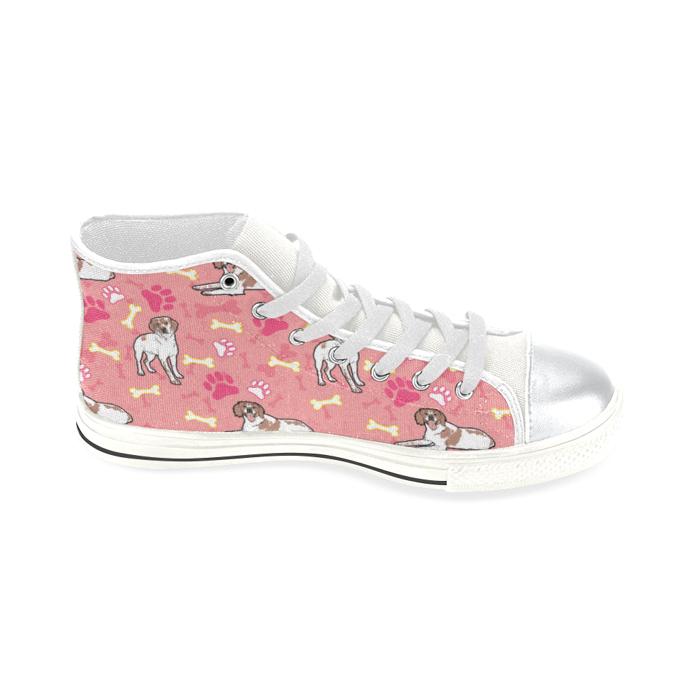 Brittany Spaniel Pattern White High Top Canvas Shoes for Kid - TeeAmazing