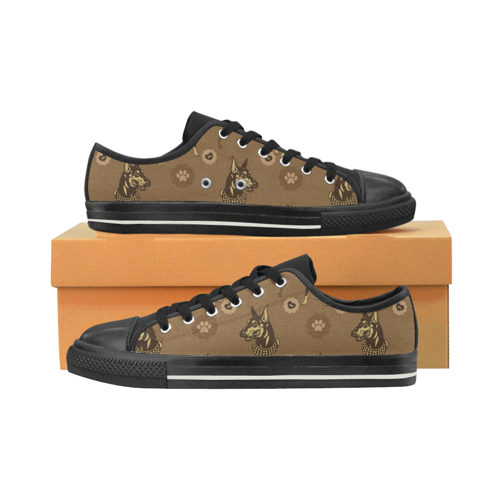Doberman Black Men's Classic Canvas Shoes - TeeAmazing