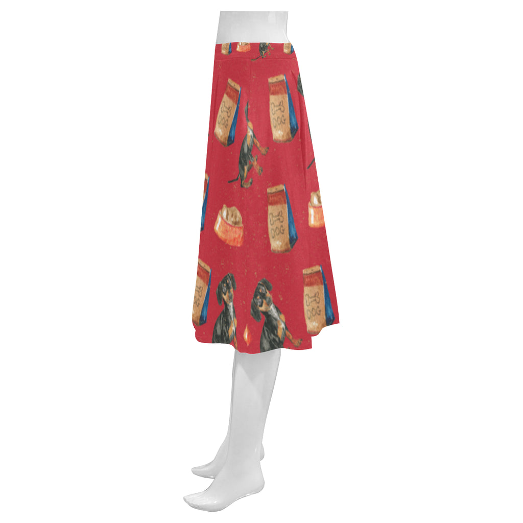 Dachshund Water Colour Pattern No.2 Mnemosyne Women's Crepe Skirt (Model D16) - TeeAmazing