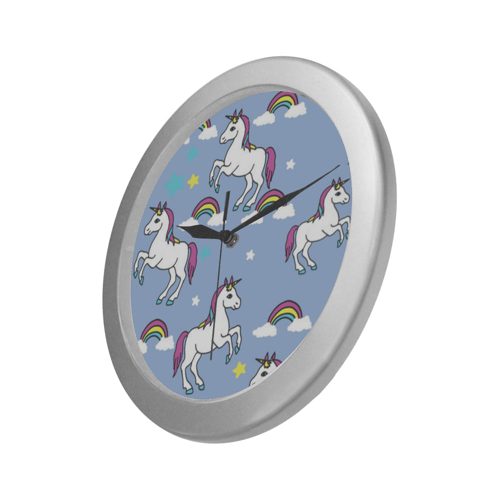 Unicorn Pattern Silver Color Wall Clock - TeeAmazing