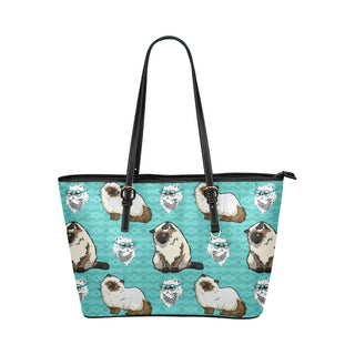 Himalayan Cat Leather Tote Bag/Small (Model 1651) - TeeAmazing