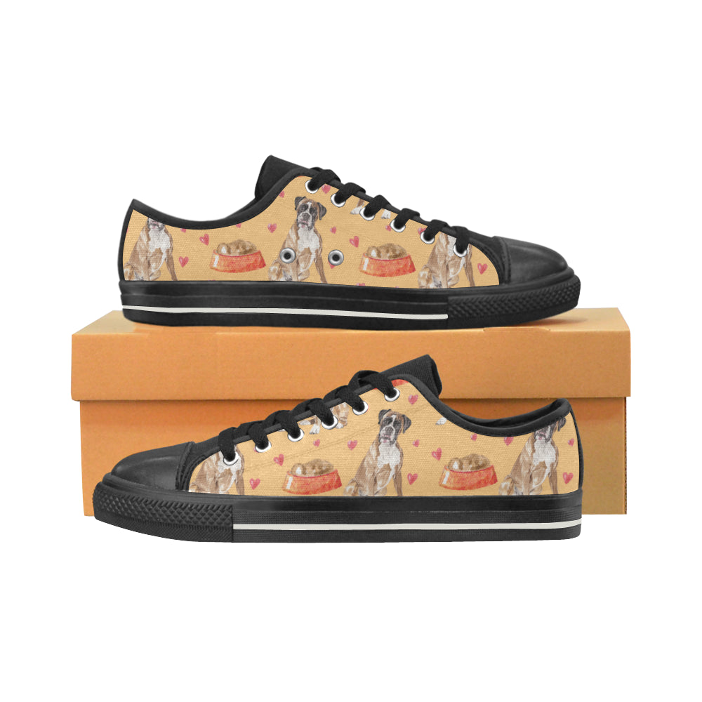 Boxer Water Colour Pattern No.1 Black Canvas Women's Shoes/Large Size - TeeAmazing
