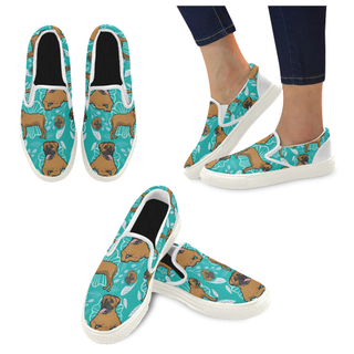 Bullmastiff Flower White Women's Slip-on Canvas Shoes - TeeAmazing