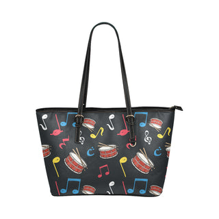 Snare Drum Pattern Leather Tote Bag/Small - TeeAmazing