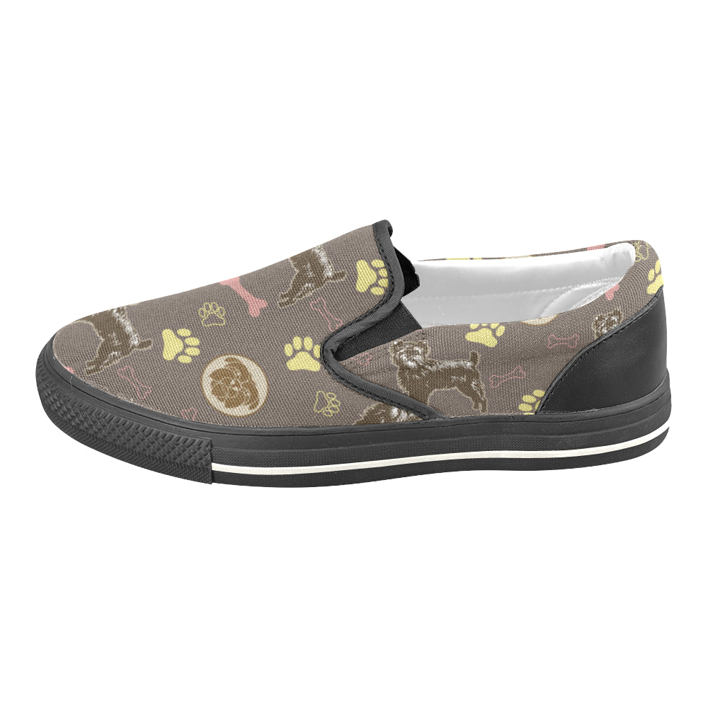 Affenpinschers Pattern Black Women's Slip-on Canvas Shoes/Large Size (Model 019) - TeeAmazing