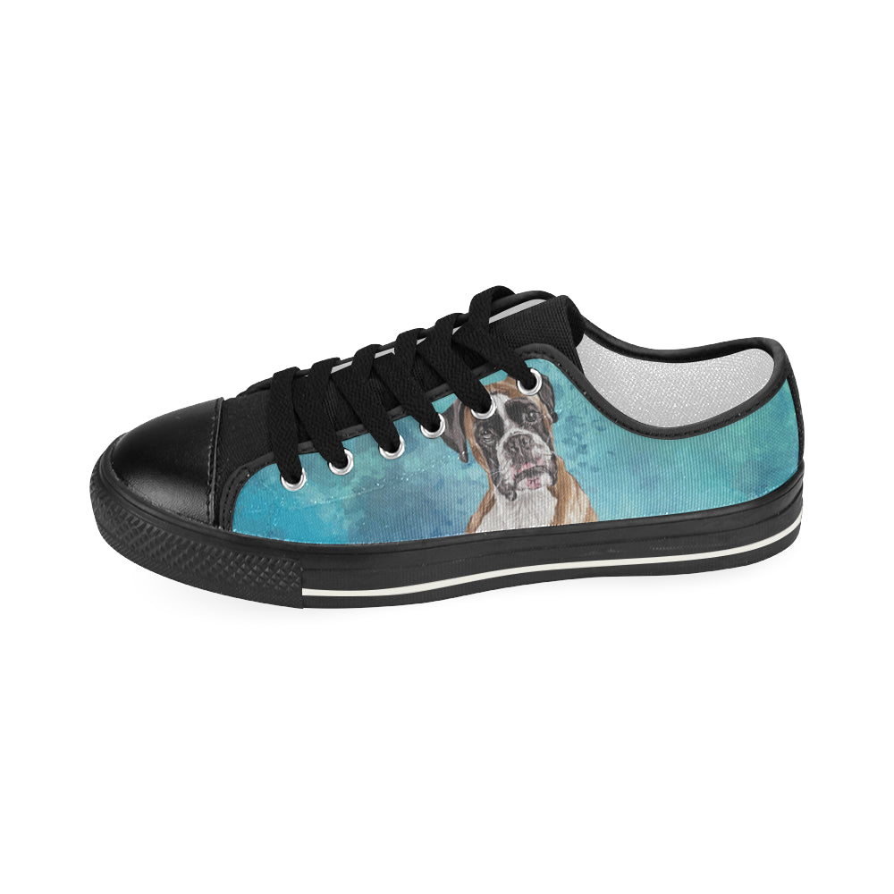 Boxer Water Colour Black Women's Classic Canvas Shoes - TeeAmazing