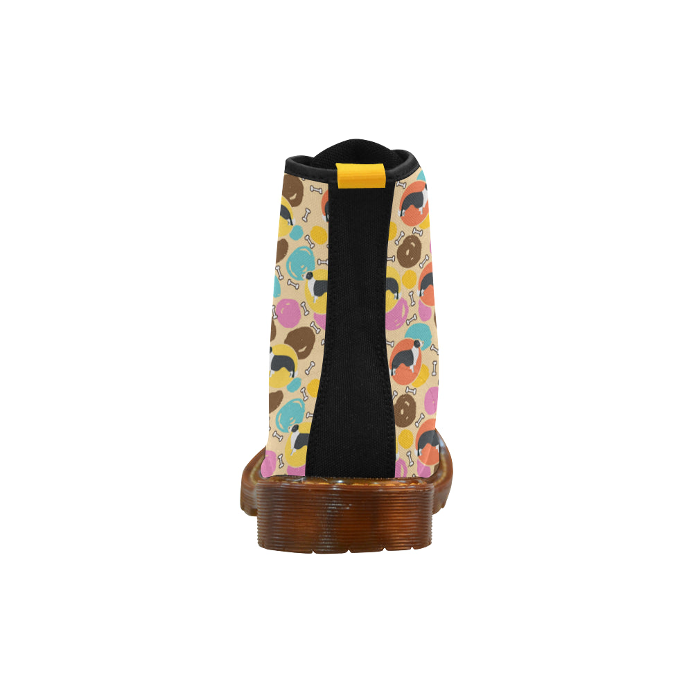 Border Collie Pattern Black Boots For Women - TeeAmazing