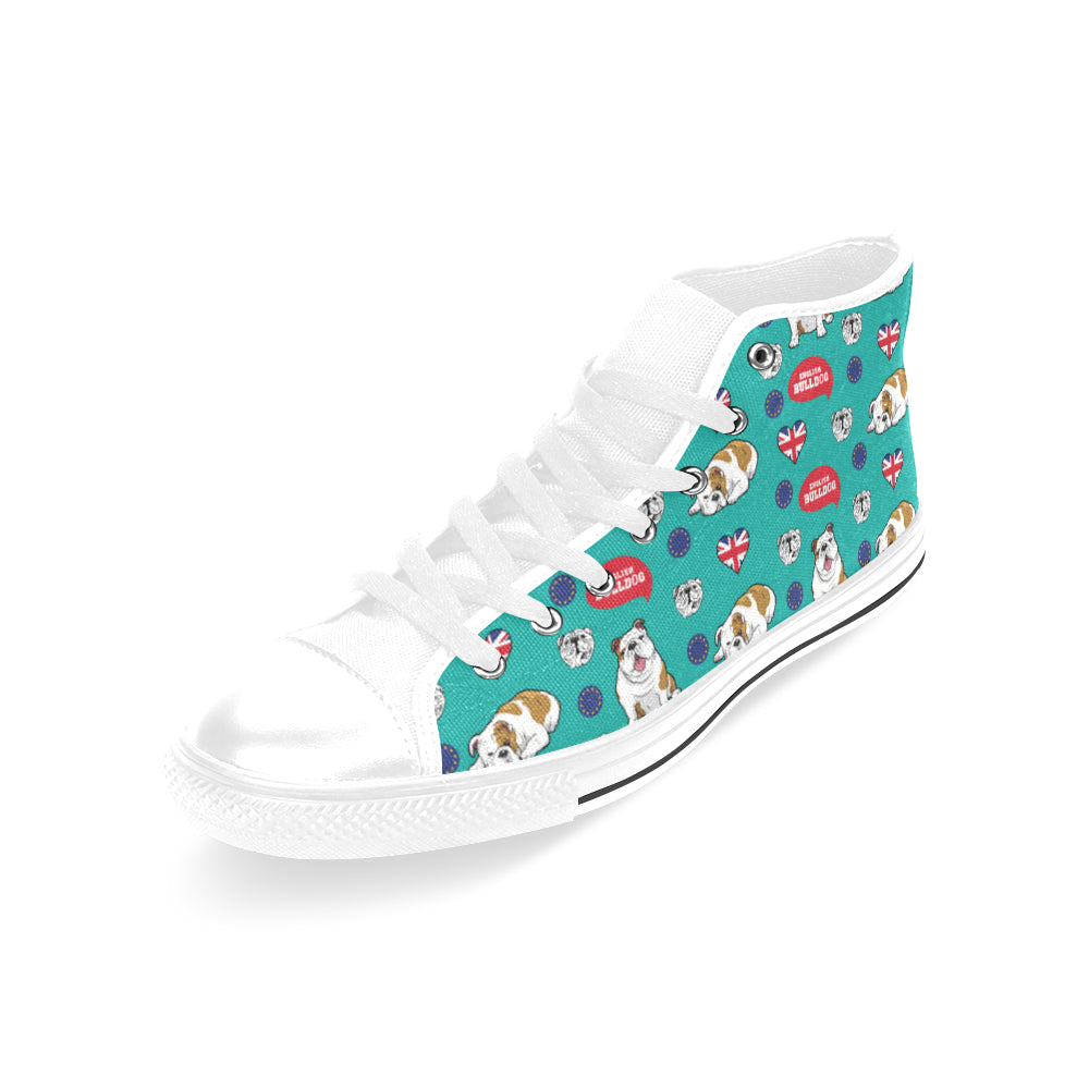 English Bulldog White Men's Classic High Top Canvas Shoes /Large Size - TeeAmazing