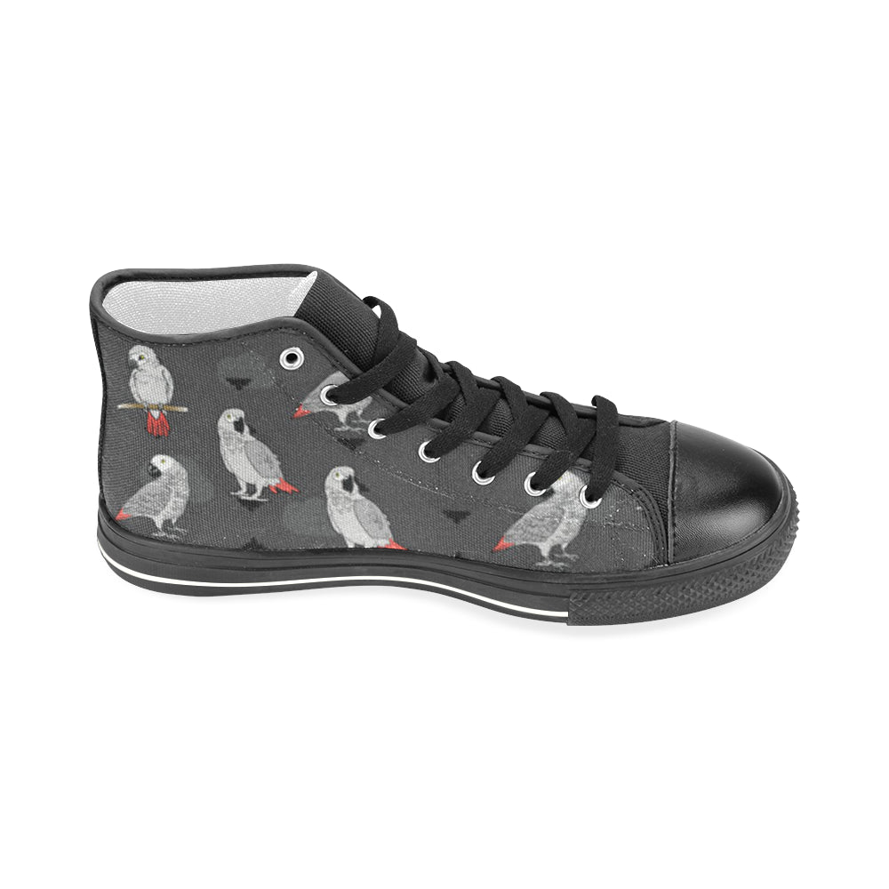 African Greys Black Men's Classic High Top Canvas Shoes - TeeAmazing