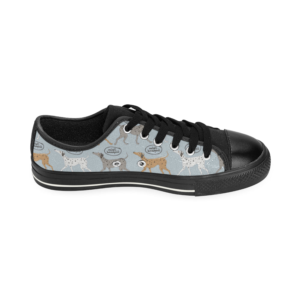 Italian Greyhound Pattern Black Canvas Women's Shoes (Large Size) - TeeAmazing