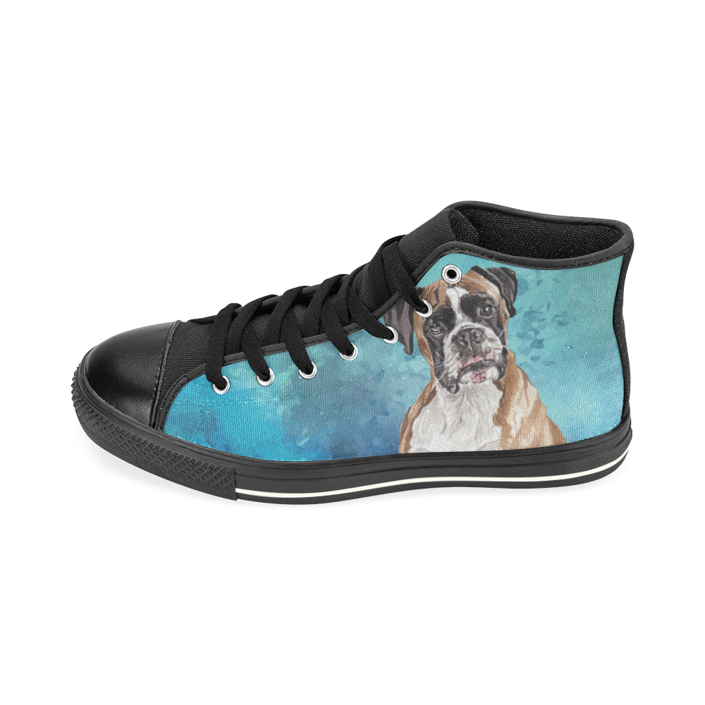 Boxer Water Colour Black High Top Canvas Shoes for Kid (Model 017) - TeeAmazing