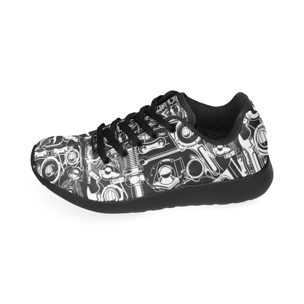 Biker Engine Black Sneakers Size 13-15 for Men - TeeAmazing
