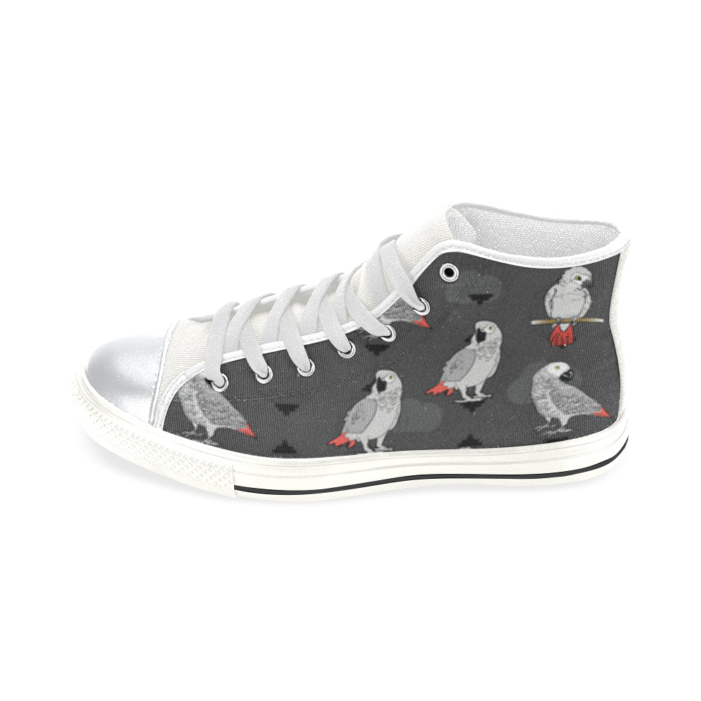 African Greys White High Top Canvas Shoes for Kid - TeeAmazing