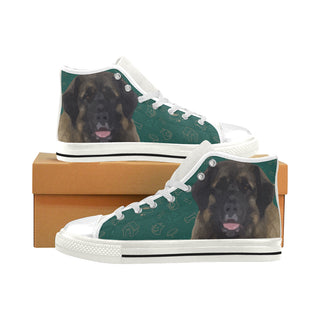 Leonburger Dog White Men's Classic High Top Canvas Shoes (Model 017) - TeeAmazing